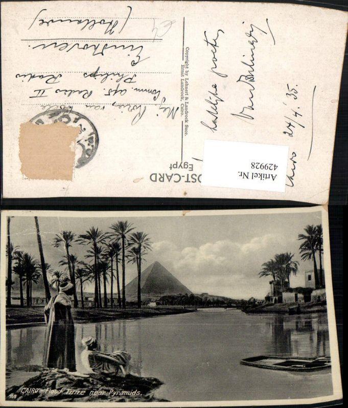 429928,Egypt Cairo Kairo Flood time near Pyramids Flut Pyramide Volkstypen