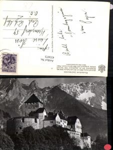 433075,Fürstentum Liechtenstein Schloss Vaduz m. Falknis Bergkulisse