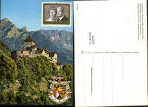 433078,Fürstentum Liechtenstein Schloss Vaduz Bergkulisse Wappen Fürstenpaar