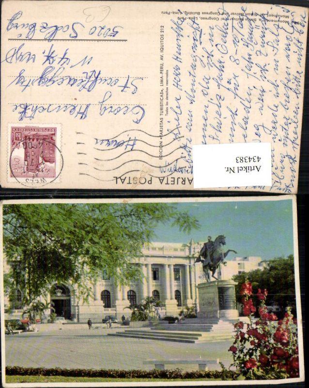434383,Peru Lima Monumento a Simon Bolivar y el Congreso Denkmal Statue Gebäude
