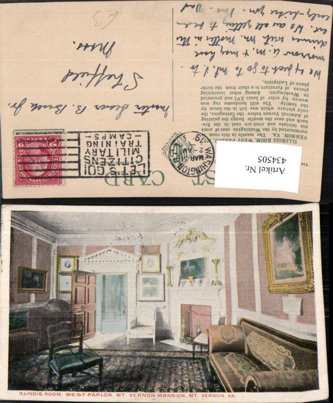 434505,Virginia Mount Vernon Mansion West Parlor Illinois Room Innenansicht