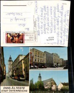 435124,Enns Kirche Straßenansicht Tor Turm Mehrbildkarte