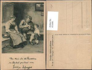 431699,Künstler Ak Fr. v. Defregger Das zerbrochene Pferd Holzpferd Holzspielzeug