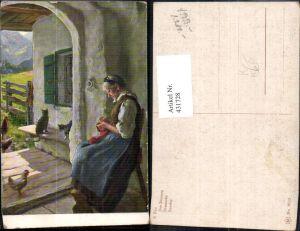 431728,Künstler Ak E. Rau Der Sonntag Alte Frau b. Nähen Katzen Huhn Heimarbeit Hausarbeit