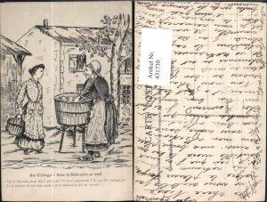 431730,Künstler Ak Frauen Wäschewaschen Trog Au Village Sans la Belle-mere ca irait Heimarbeit Hausarbeit