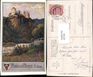 437341,Künstler AK Frain an d. Thaya Vranov nad Dyji Burg Schloss pub Deutscher Schulverein 455