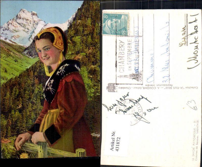 431872,Frau Savoie Pittoresque Costumes de Savoie Tarentaise Trachten Frankreich