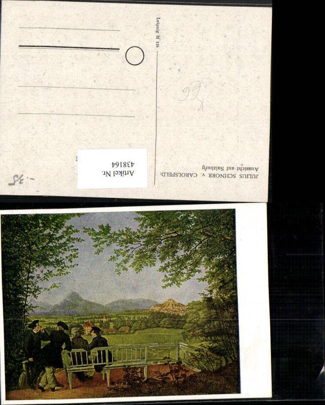 438164,Künstler AK Julius Schnorr v. Carolsfeld Aussicht auf Salzburg Männer Bank
