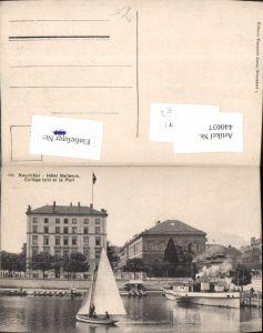 440037,Neuchatel Neuenburg Hotel Bellevue College latin et le Port Dampfer Segelboot