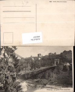 440187,Fribourg Freiburg Le grand Pont suspendu Brücke