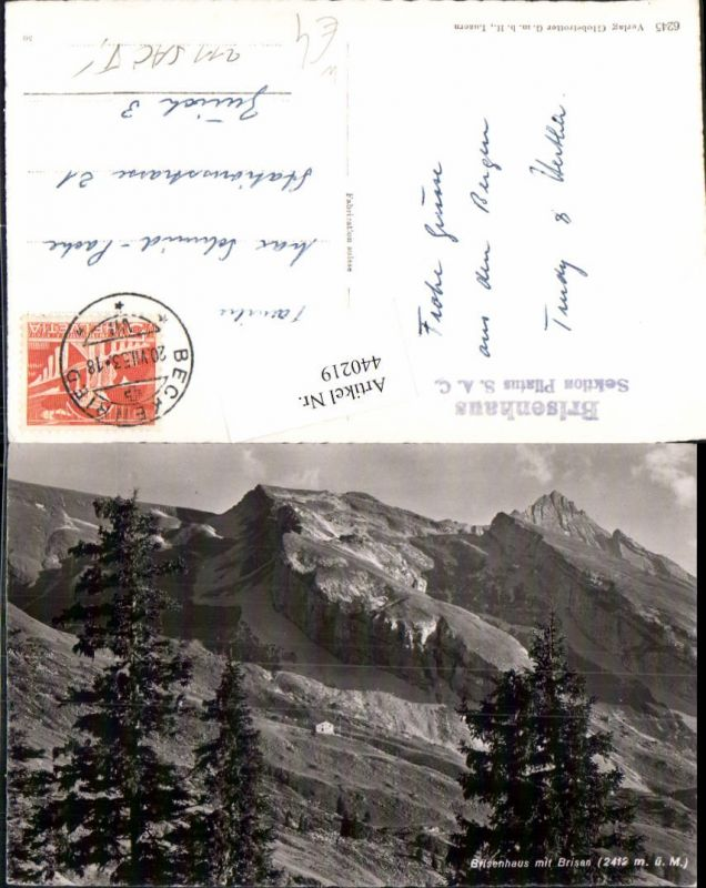 440219,Brisenhaus Berghütte b. Beckenried m. Brisen Bergkulisse Kt Nidwalden