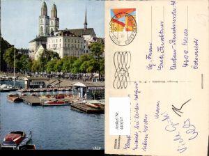440247,Zürich Limmatquai Boote Kirche