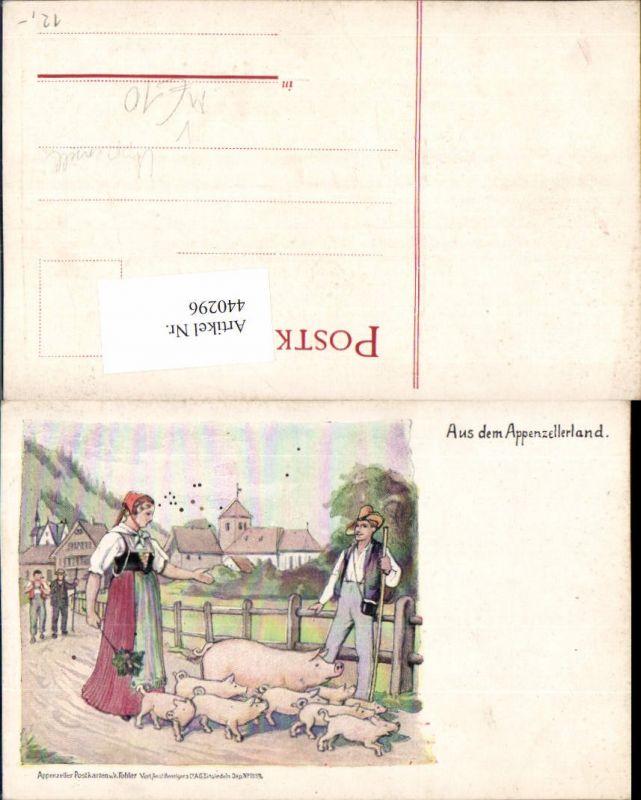 440296,Künstler AK Appenzell Bauern Tracht Schweine Ferkel pub Tobler 1559