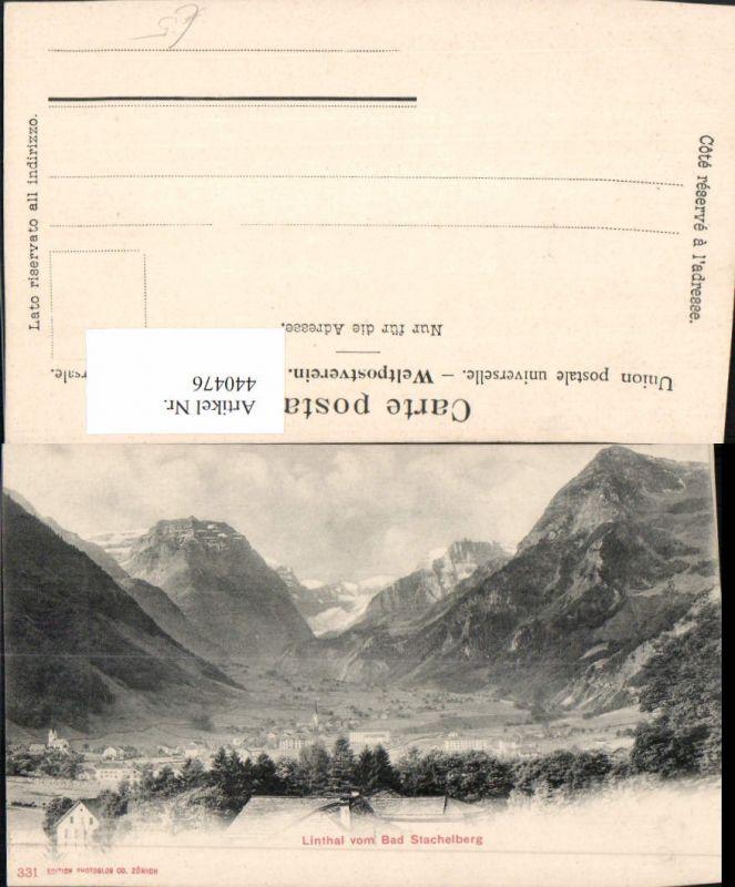 440476,Linthal vom Bad Stachelberg Totale Bergkulisse Kt Glarus