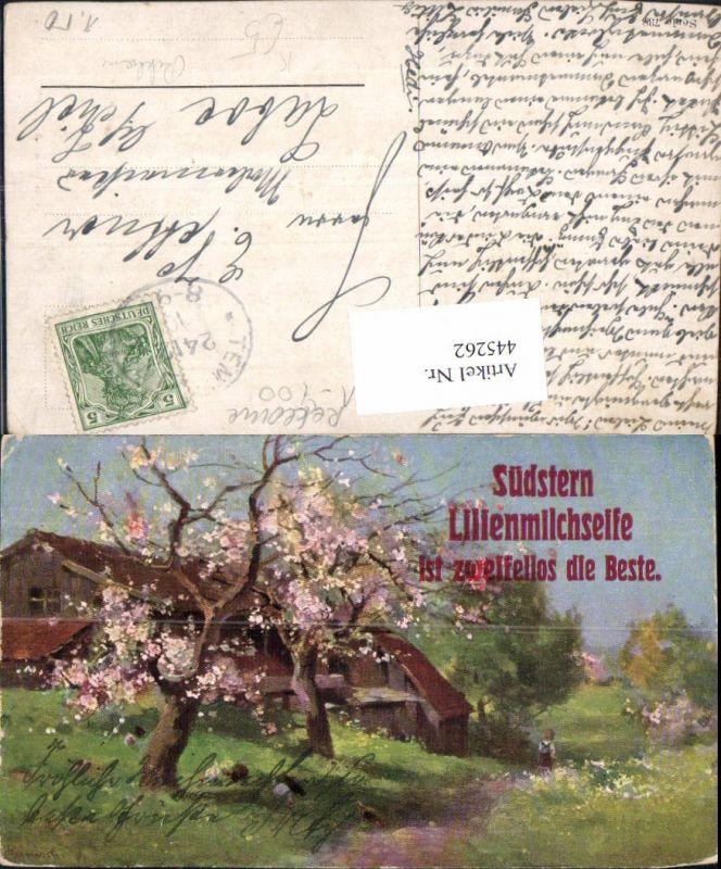 445262,Künstler Ak Reklame Südstern Lilienmilchseife Bauernhof Landschaft