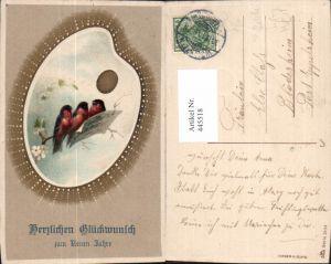 445518,Präge Litho Farbpalette Palette Vögel Singen Notenblätter Malerei