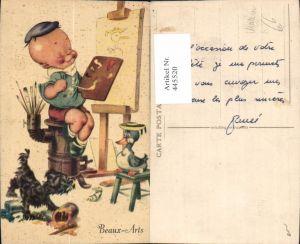 445520,Künstler Ak Beaux-Arts Bub Hund Ente Maler Künstler Malerei Staffelei Pinsel Ofen