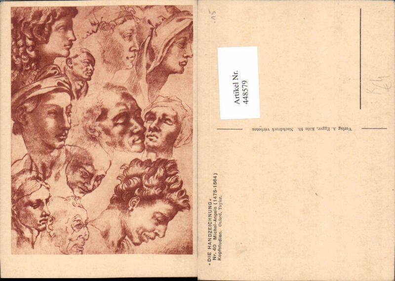448579,Künstler AK Michelangelo Kopfstudien Köpfe