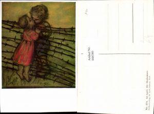 448580,Künstler AK M. Spötl Schwaz Mit Hindernissen Kinder Kuss Liebe