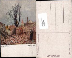 448590,Künstler AK M. Rabes Zerstörtes Heim Dorf