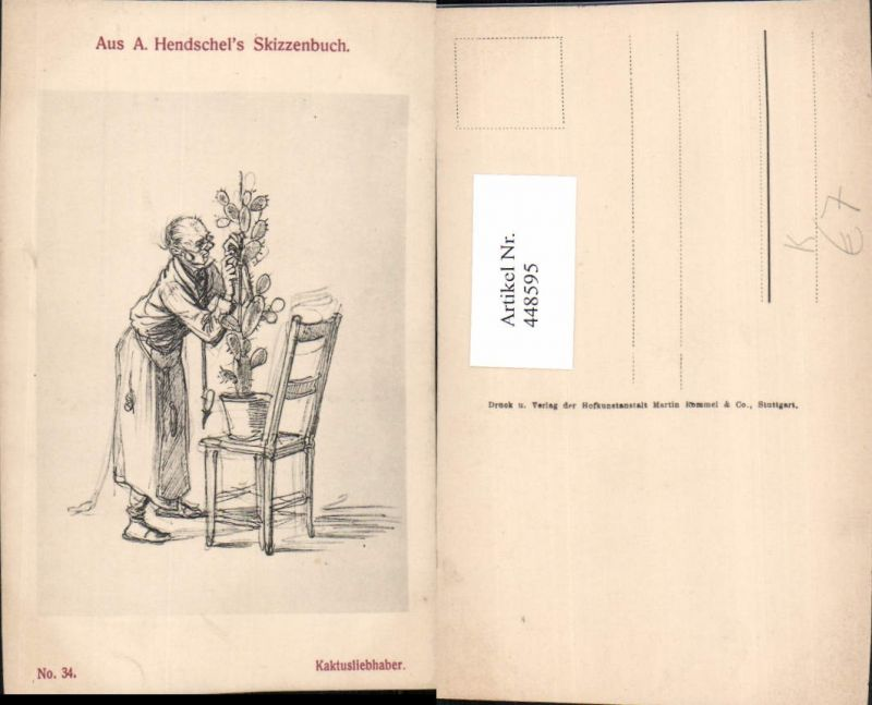 448595,Künstler AK A. Hendschel Skizze Kaktusliebhaber Mann Kaktus
