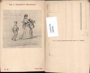 448596,Künstler AK A. Hendschel Skizze Auf der Spur Frau m. Kleid Körbe Junge Uniform