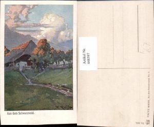 448597,Künstler AK Fritz Reiss Aus dem Schwarzwald Landschaft Haus