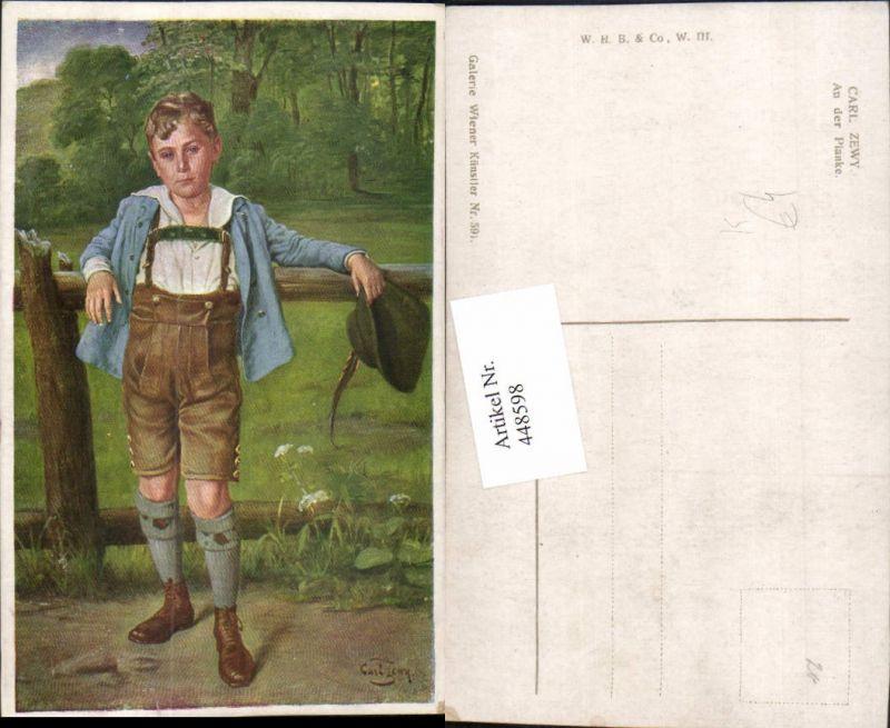 448598,Künstler AK Carl Zewy An der Planke Junge Bub in Tracht Federhut