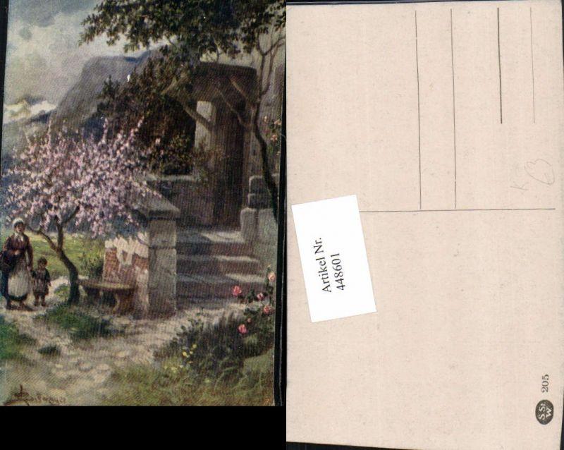 448601,Künstler AK L. Schweiger Haus Motiv Stiege Frau m. Kind Baumblüte