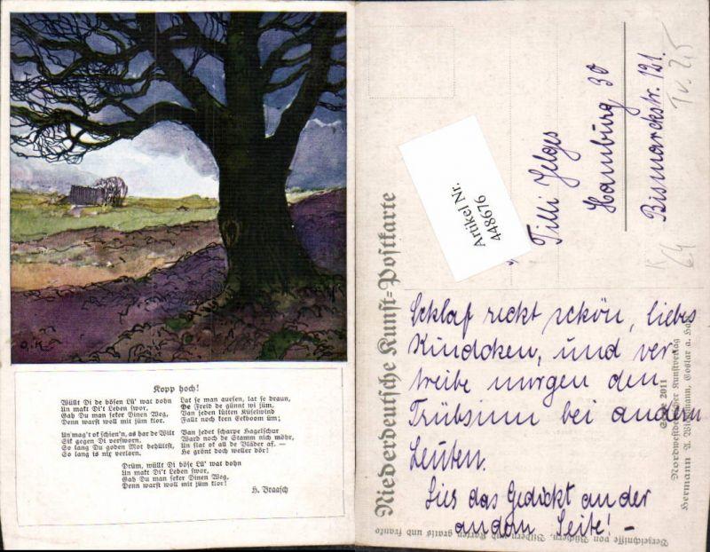 448676,Künstler AK Landschaft Baum Text pub A. Wiechmann