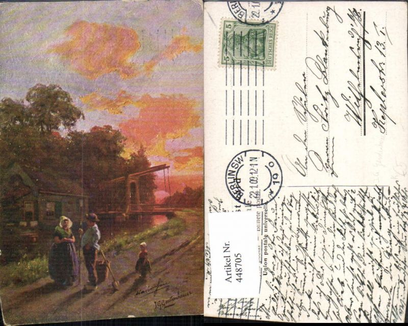 448705,Künstler AK J. G. Gerstenhauer Landschaft Personen Zugbrücke