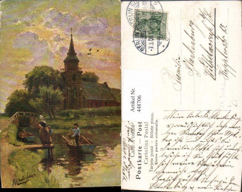 448706,Künstler AK J. G. Gerstenhauer Landschaft Kirche Personen Boot