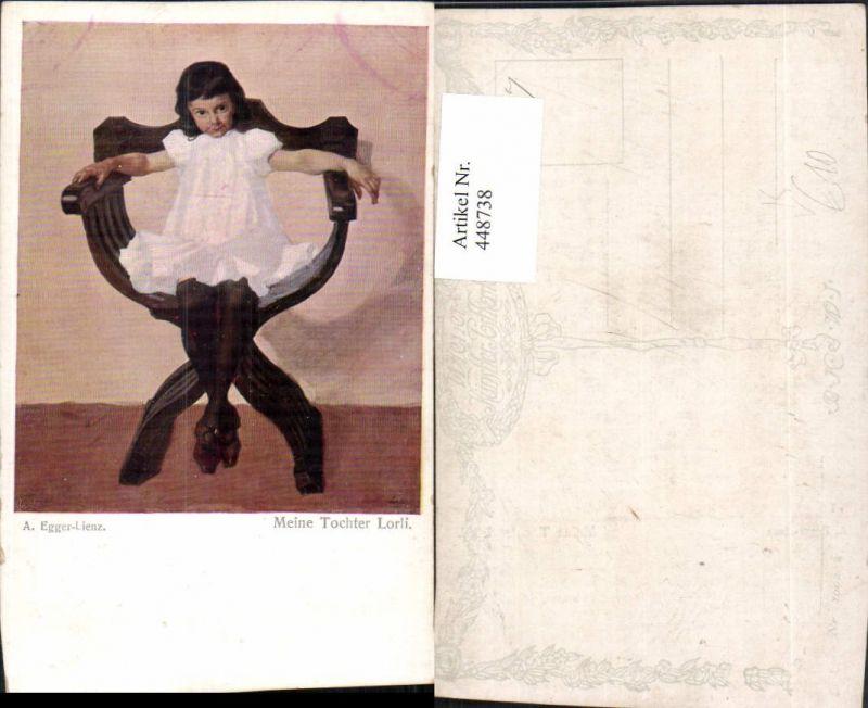 448738,Künstler AK A. Egger-Lienz Meine Tochter Lorli Mädchen Sessel pub B.K.W.I. 1002
