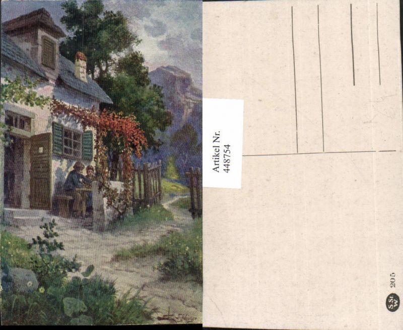 448754,Künstler AK L. Schweiger Haus Motiv Bergkulisse