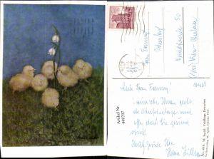 448797,Künstler AK M. Spötl Schwaz Frühlings Erwachen Küken Schneeglöckchen