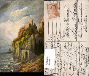 448843,Künstler AK G. Fiebiger Landschaft Küste Burg Ruine