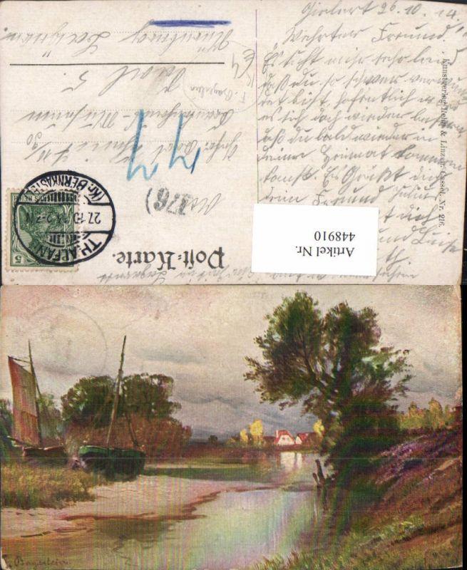 448910,Künstler AK F. Bayerlein Landschaft Boote