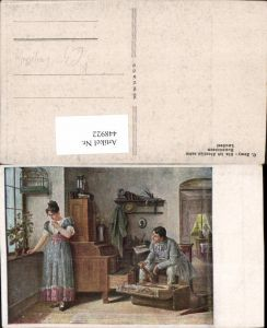 448922,Künstler AK C. Zewy Als ich Abschied nahm Paar Koffer Vogelkäfig