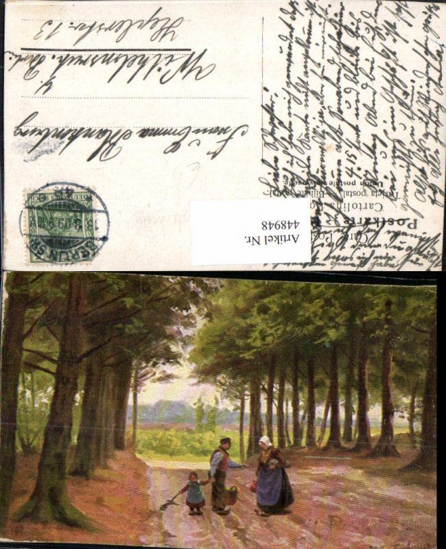 448948,Künstler AK J. G. Gerstenhauer Personen Wald Bäume