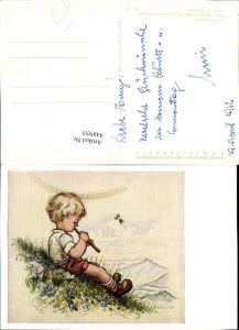 448955,Künstler AK A. E. Stegmann Hirtenlied Junge Bub Flöte