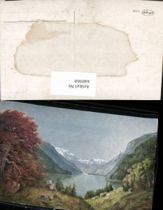 448960,Künstler AK G. Fiebiger Landschaft See Bergkulisse