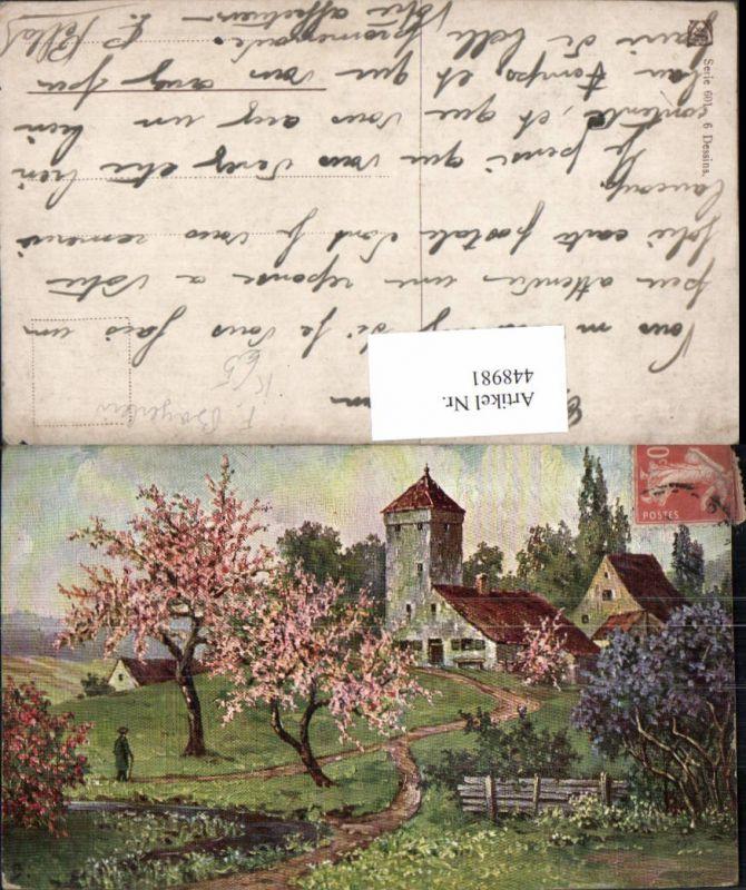 448981,Künstler AK F. Bayerlein Landschaft Dorf Kirche Baumblüte