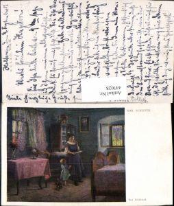 447028,Künstler AK Rob. Scheffer Der Feldbrief Frau b. Lesen Kind