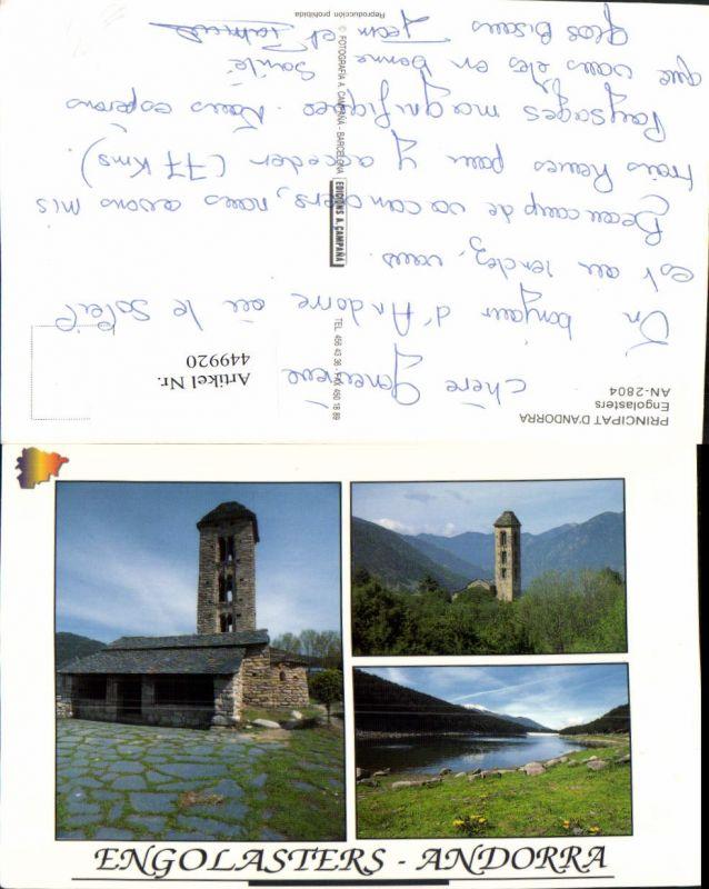 449920,Andorra Engolasters See Kirche Turm Mehrbildkarte