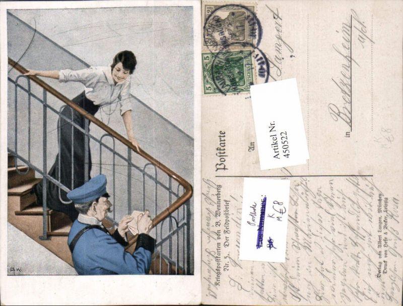 450522,Künstler AK Brynolf Wennerberg Feldpostbrief Postbote Frau Stege