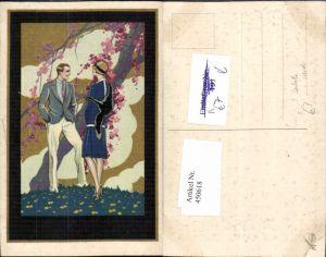 450618,Künstler AK T. Corbella Liebe Paar Mode Pelz Baumblüte