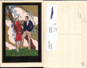 450621,Künstler AK T. Corbella Liebe Paar Mode Pelz Baumblüte