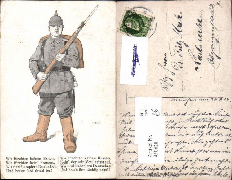 450628,Künstler AK P. O. Engelhard Patriotik Propaganda Soldat Pickelhaube