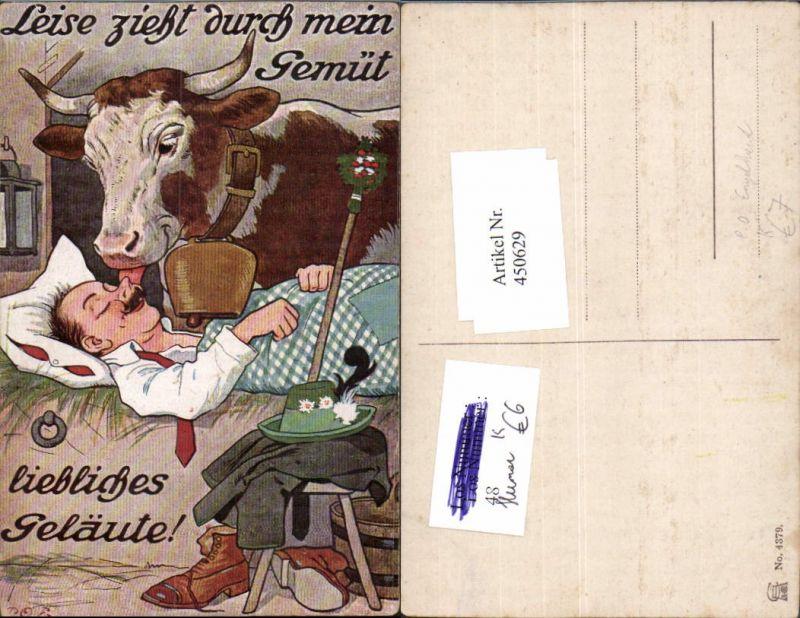 450629,Künstler AK P. O. Engelhard Humor Mann b. Schlafen Kuh Glocke Zunge