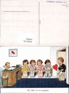 450684,Künstler AK Willi Scheuermann John Wills Herz zu vergeben Kinder Amor Engel